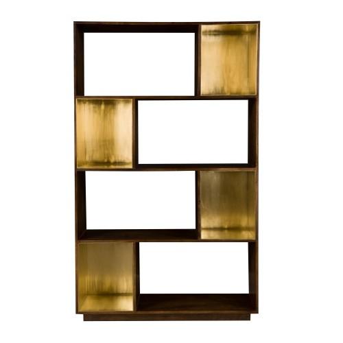 acheter etagere bois fonce et dore