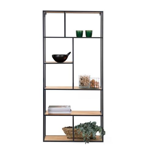 acheter etagere en bois clair et metal noir