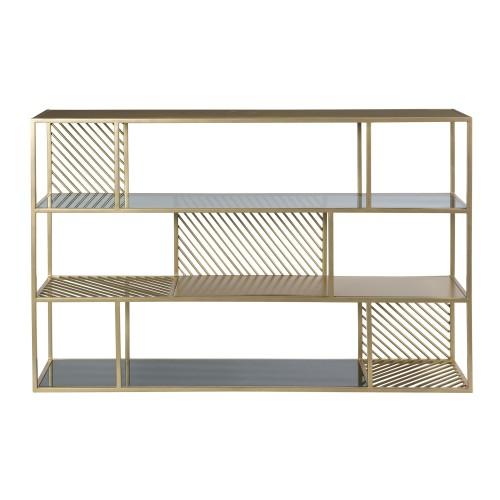 acheter etagere en metal dore et verre trempe