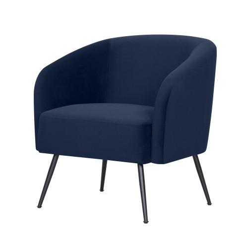 acheter fauteuil assise en velours bleu pieds noirs