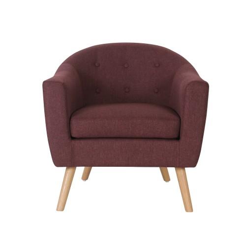 acheter fauteuil aubergine en tissu pieds bois clair
