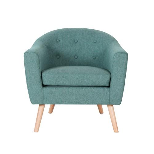 acheter fauteuil bleu en tissu pieds bois clair