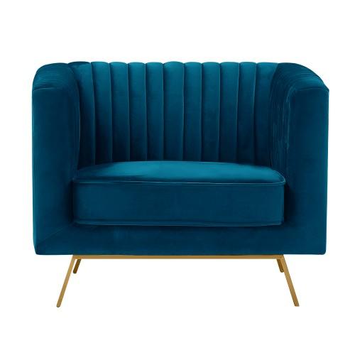 acheter fauteuil bleu fonce velours