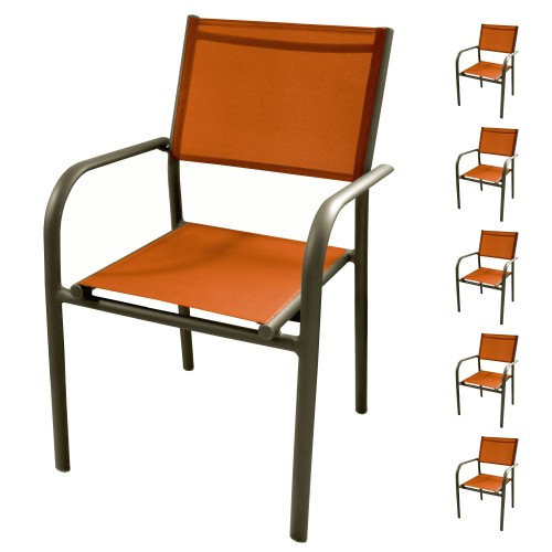 Fauteuil de jardin Cancun orange (lot de 6)