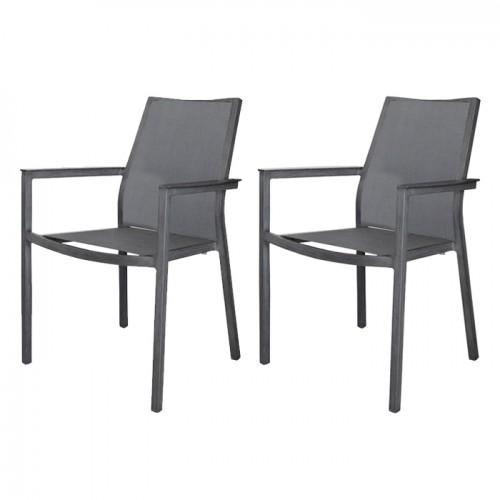 acheter fauteuil empilable gris lot de 2
