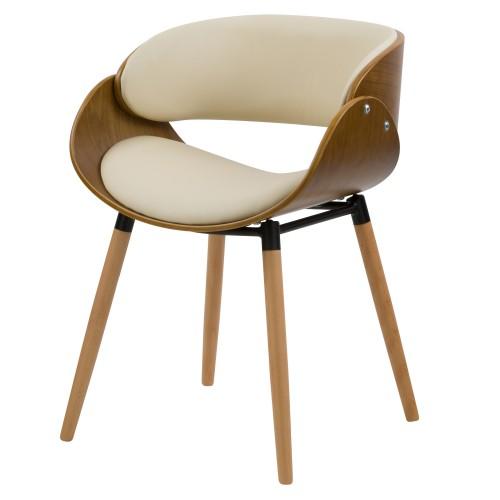 acheter fauteuil en bois et cuir synthetique beige