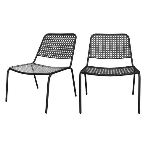 acheter fauteuil en metal noir ajoure lot de 2