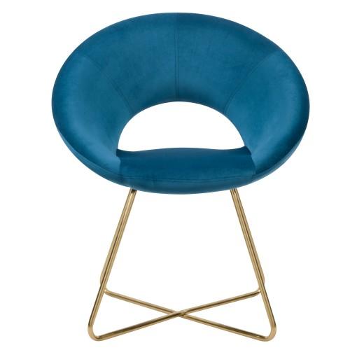 acheter fauteuil en velours bleu art deco