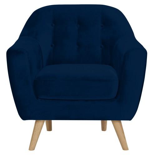 Fauteuil Rio en velours bleu foncé : commandez les fauteuils