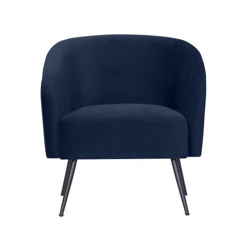 acheter fauteuil en velours- bleu fonce
