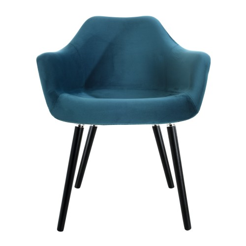 acheter fauteuil en velours bleu pieds noirs