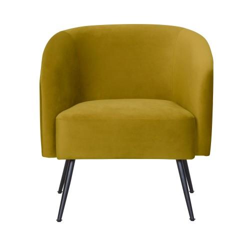 acheter fauteuil en velours jaune moutarde