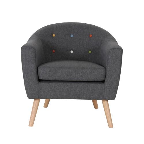 acheter fauteuil gris en tissu pieds bois clair