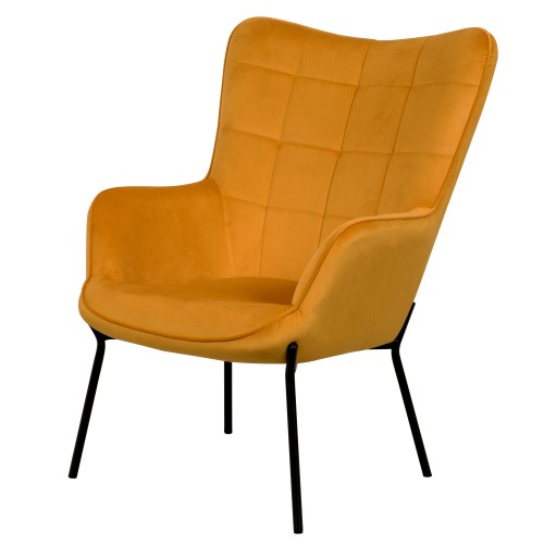 acheter fauteuil jaune en velours