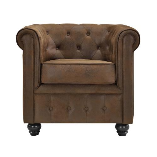 fauteuil chesterfield marron vieilli