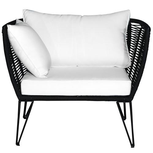 acheter fauteuil noir coussin blanc