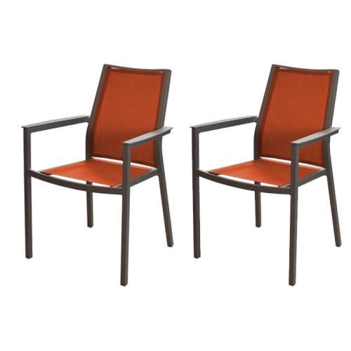 Fauteuil Ida avec accoudoirs empilable orange (lot de 2)