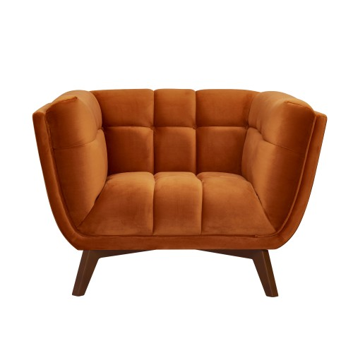 Fauteuil Mona en velours orange curcuma