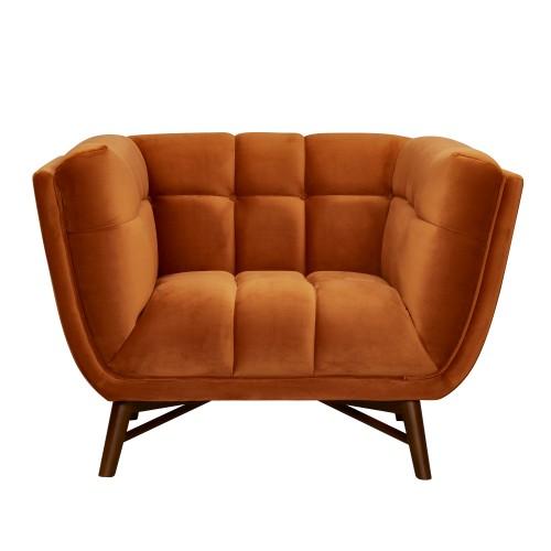 acheter fauteuil orange en velours