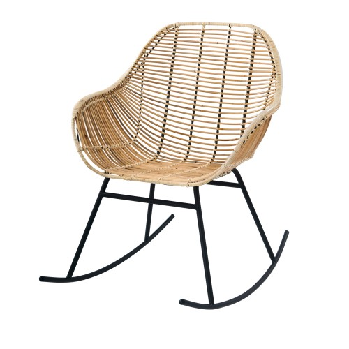 Rocking-chair Pakur en rotin naturel