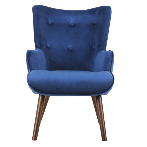 acheter fauteuil velours bleu fonce