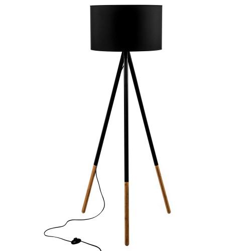 acheter lampadaire bicolore noir et bois