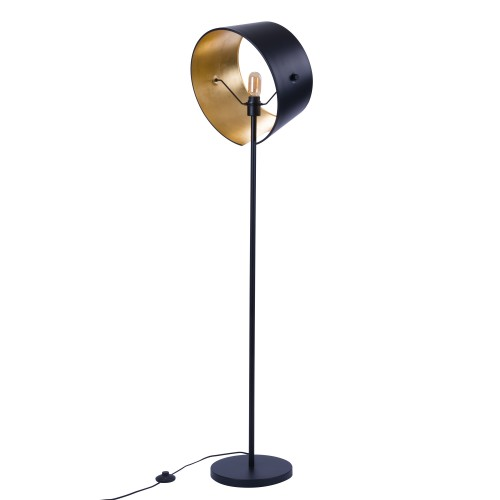 acheter lampadaire en metal noir et dore