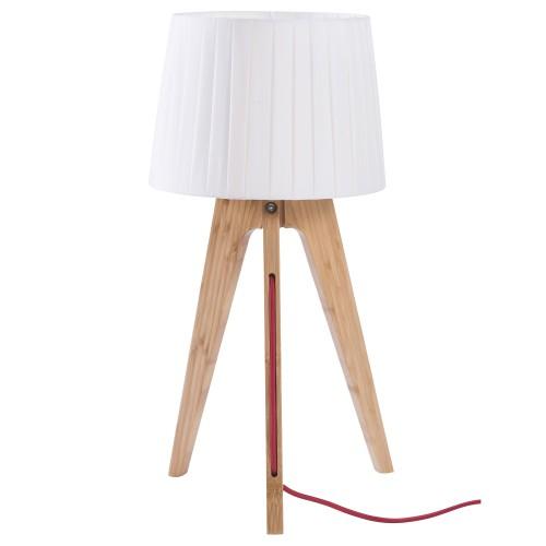 acheter lampe a poser blanche et bois