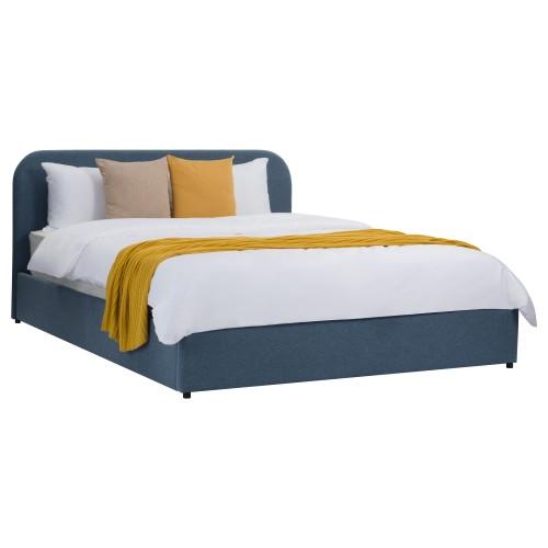 Lit double Tilly avec coffre 140x190 cm en tissu bleu
