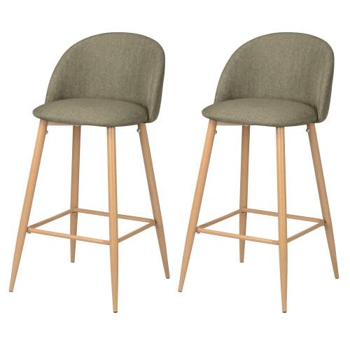 acheter lot de 2 chaises de bar tissu taupe