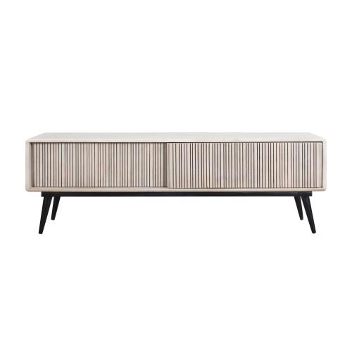 acheter meuble tv en bois blanchi