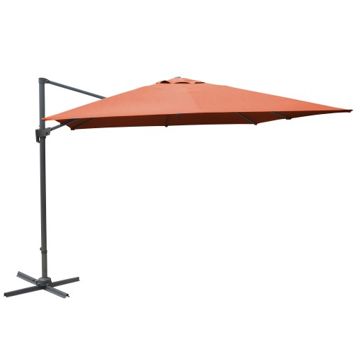 Parasol orange déporté inclinable manivelle 3x3m