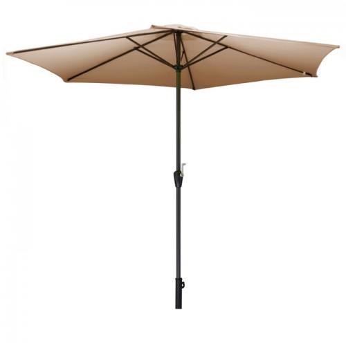 Parasol Bois taupe avec manivelle 3,5m