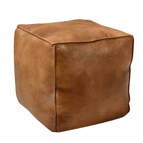 Pouf en cuir Arrah marron
