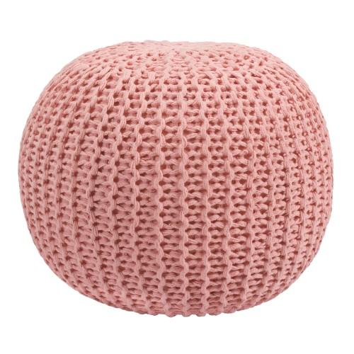 acheter pouf rose clair en tricot rond