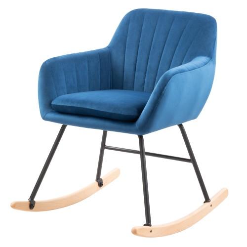 acheter rocking chair en velours bleu