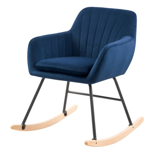 acheter rocking chair en velours bleu