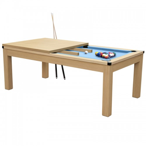 Table de Billard convertible hêtre tapis bleu