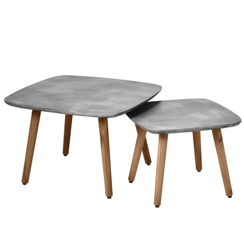 Table basse carrée Goma en béton (lot de 2)