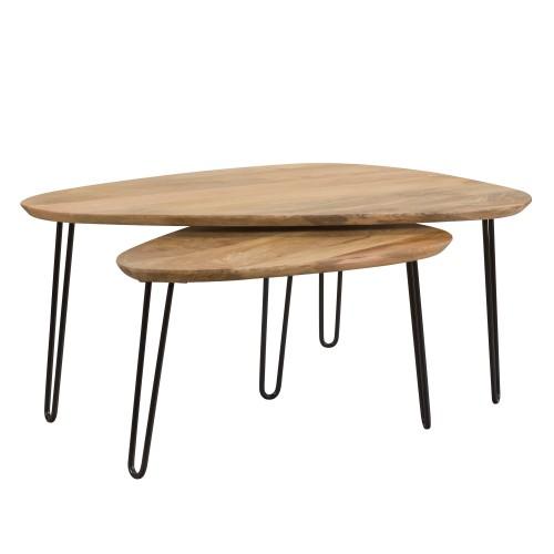 acheter table basse gigogne en bois de manguier
