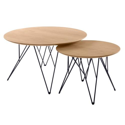 acheter table basse lot de 2 bois clair