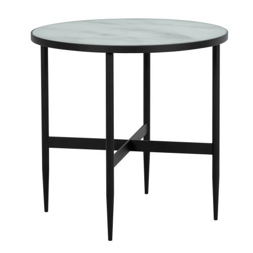 Table basse ronde Alaska en verre effet marbre et metal noir ∅ 50 cm