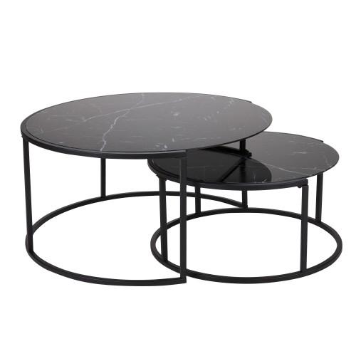 acheter table basse noire ronde