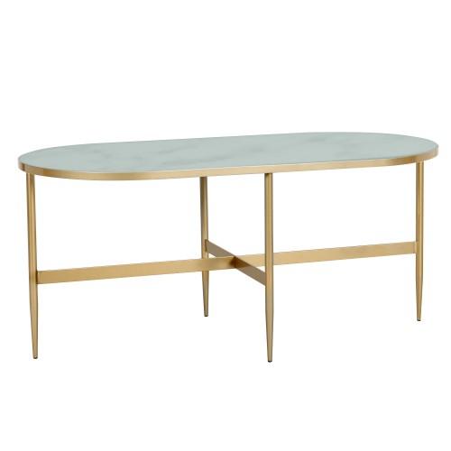 Table Basse Ovale Alaska En Verre Effet Marbe Et Laiton 100 Cm