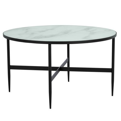 Table basse ronde Alaska en verre effet marbre et metal noir ∅ 80 cm