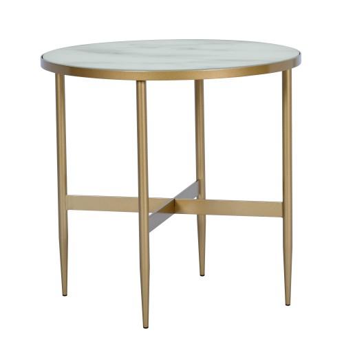 Table basse ronde Alaska en verre effet marbre et laiton ∅ 50 cm