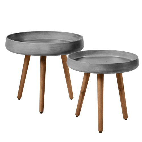 Table basse gigogne Bart en béton (lot de 2)