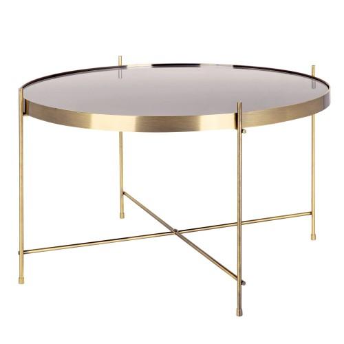 acheter table basse ronde metal dore