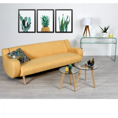 acheter table basse ronde transparente verre scandinave