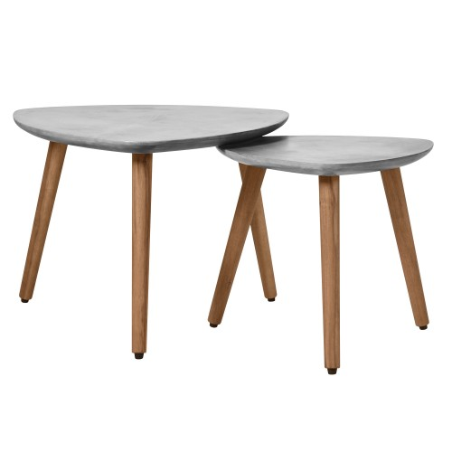 Table basse gigogne Goma en béton (lot de 2)